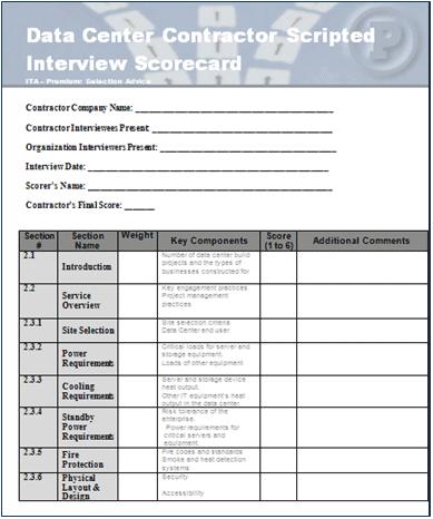 Data Center Contractor Scripted Interview Scorecard